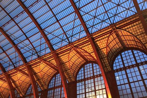 Belgium, Antwerp, Station, Railway, Roof, Construction