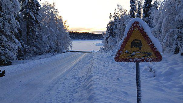 Traffic Sign, Snowy, Winter Mood, Snow Landscape