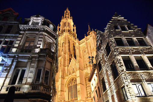 Antwerp, Cathedral Of Our Lady, Church, Steeple, City