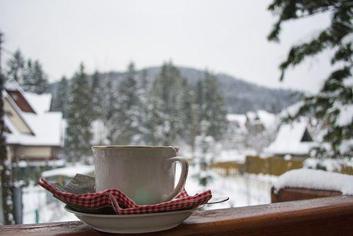 Tea, Teacup, Winter, Mountains, Buried, The Drink