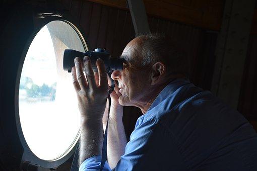 Man, Binoculars, Outlook, Steeple, Telescope
