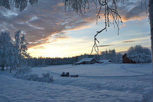 Lapland, Sweden, Sunset, Wintry
