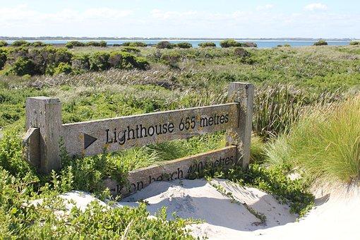 Lighthouse, Sign, Beach, Sand, Coast, Symbol, Nautical
