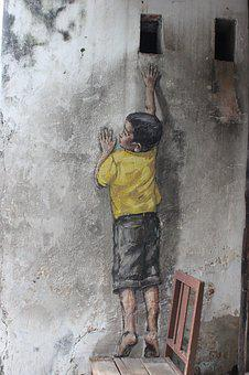 Painting, Penang, Asia, Wall, Child, Colors
