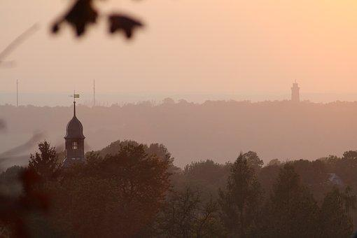 Sunset, Glauchau, Lobsdorf, Church, Steeple, Tower