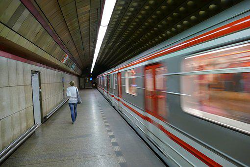 Prague, Czech Republic, Metro, Ubahn, Train, Platform