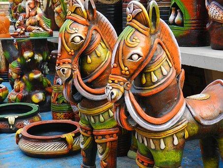 Decorative, Pots, Traditionally Indian, Clay