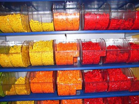 Lego Brick, Yellow, Orange, Red, Toy, Block, Game, Lego