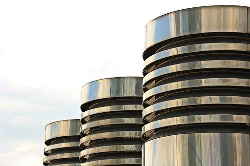 Columnar, Three Pillars, Chrome, Metal, Gloss, Silver