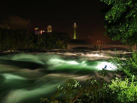 Rapids, Niagara Falls, Night, Niagara, Water, Canada