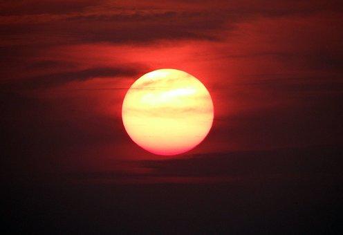 Sunsets, Glowing, Sun, Stars, Orange, Red, Sky, Fiery