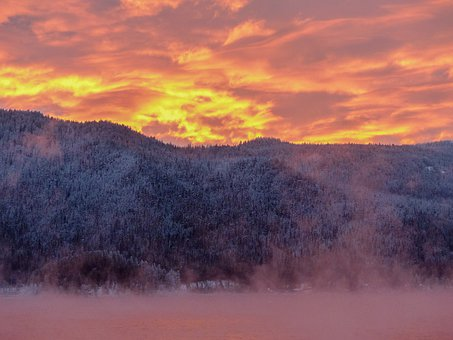 Sunrise, Early Morning, Water, Mountain, Winter Magic