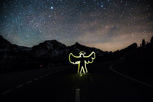 Angel, Light Graffiti, Road, Drive Slowly, Starry Sky