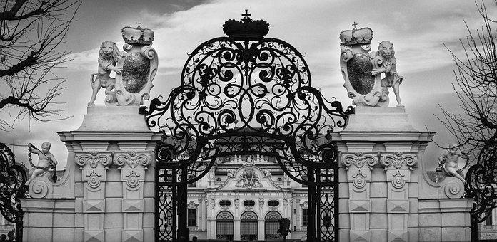 Goal, Baroque, Castle, Black And White, Gate, Vienna