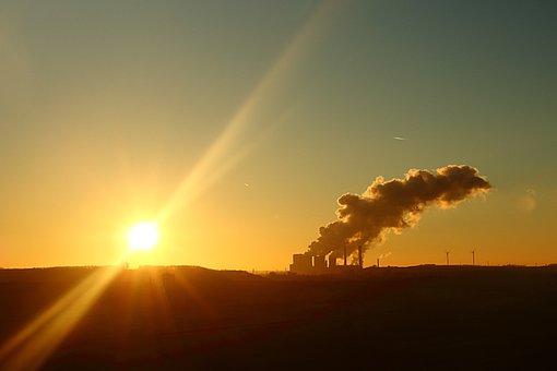 Sunset, Power Plant, Factory, Chimney, Evening Sky