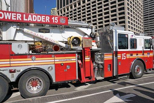 Fire, New York, Manhattan, Usa
