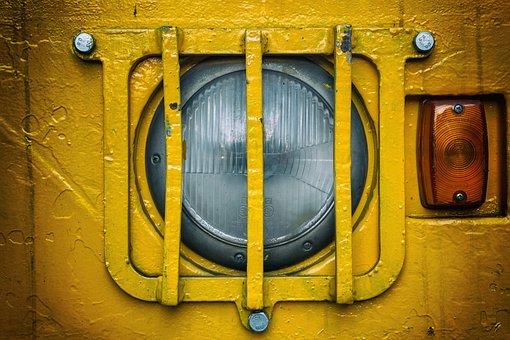 Grid, Lamp, Spotlight, Yellow, Blinker, Cap, Lighting