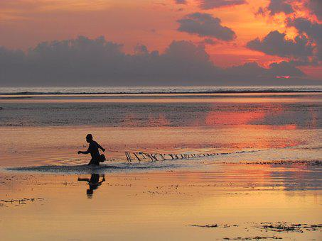 Indonesia, Visser, Beach, Sea, People, Nature, Sunrise