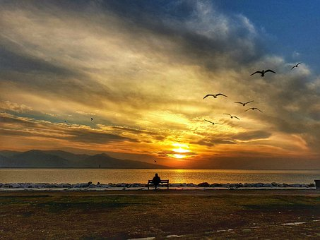 Izmir, Bostanli, Sunset, Landscpe, Beach, By The Sea
