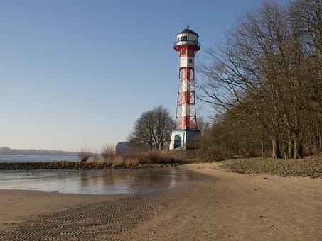 Hamburg, Elbe, Blankenese, Tree, Water, Beach