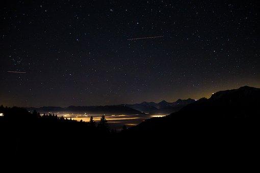 Starry Sky, Sky, Long Exposure, City, Switzerland