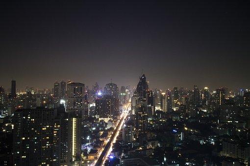 Bangkok, Night, Night Lights, Long Exposure