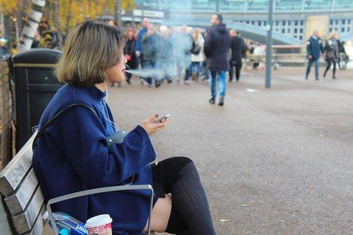 Young Woman, Sitting, Bench, Smoking, London, Art