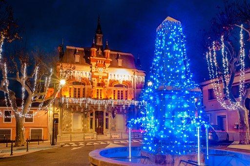 Illuminations, Christmas, Bell Tower, Lights, Winter