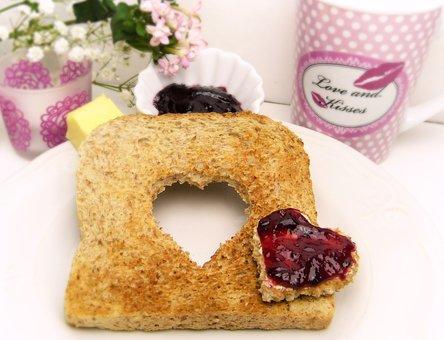 Toast, Bread, Heart, Jam, Breakfast, Butter, Love
