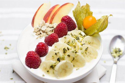 Breakfast, Healthy, Banana, Raspberries, Berries, Apple