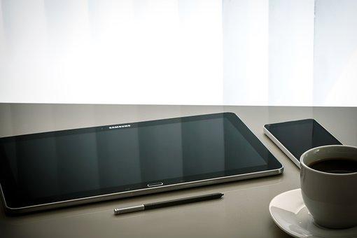 Workplace, Modern, Tablet, Screen, Work Desk, Coffee