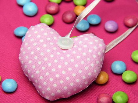 Heart, Fabric, Pink, Smarties, Love, Valentine's Day