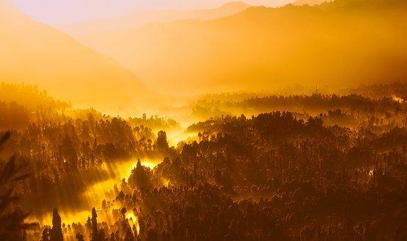 Sunrise, Morning, Sunlight, Indonesia, Mountains
