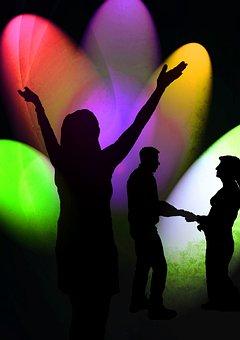Silhouette, Shadow, Disco, Dance, Lights, Spotlight
