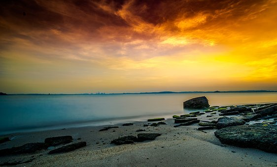 Singapore, Beach, Sunrise, Coastal, Himmel, Sea, Solar