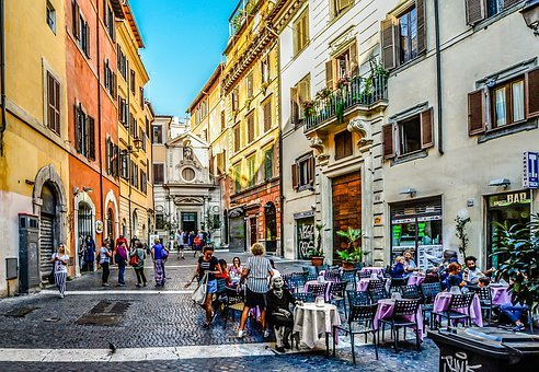Italy, Old Age, Rome, Piazza, Cafe, Woman, Square