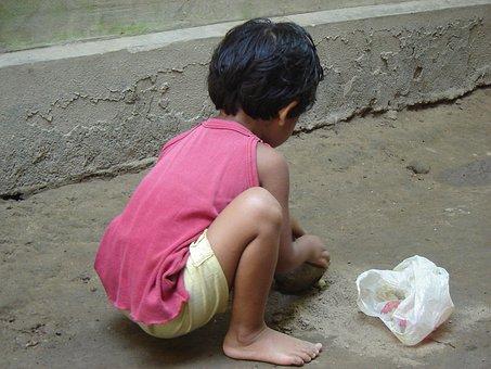 Bangladeshi, Village, Child, Play, With, Send