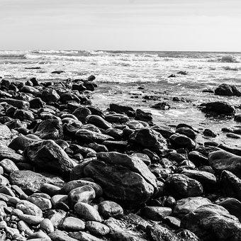 Stones, Beach, Low Key, Sea, Pebble, Water, Bank