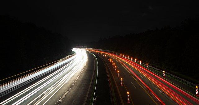 Highway, Long Exposure, Spotlight, Night, Tracer