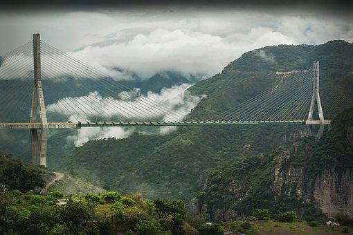 Bridge, Suspension, Building, Nature, Construction