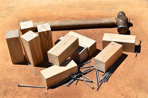 Pine Carpentry Work, Nails, Hammer