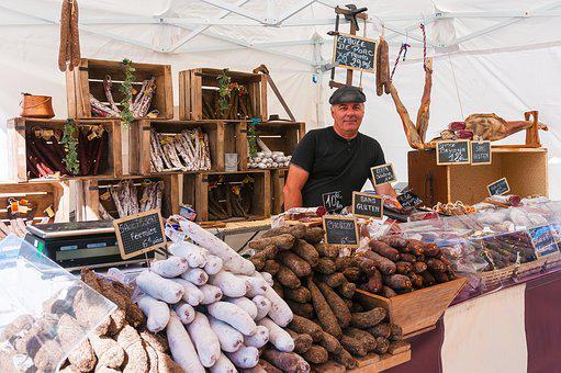 Market, Stall, Sausage, Carny, Merchant, Delicatessen
