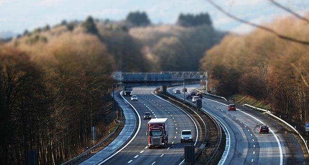 Tilt Shift, Highway, Traffic, Vehicles, Lane
