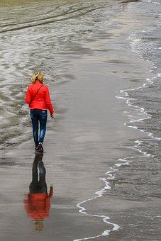 Woman, Walking, Beach, Woman Walking, Loneliness, Alone