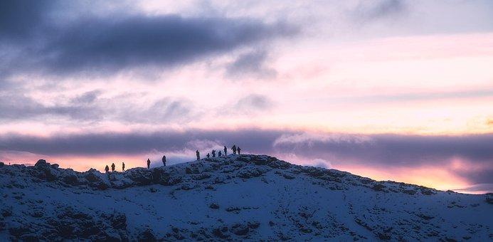 Iceland, Sunset, Dusk, Figures, Hiking, Mountain, Peak
