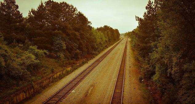 Railroad, Track, Rail, Transportation, Sepia, Line