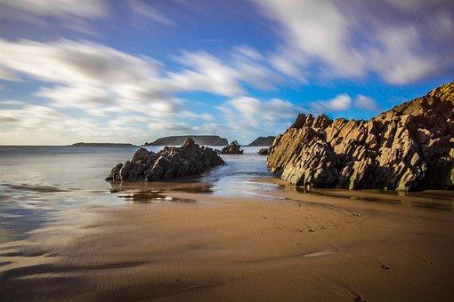 Ocean, Low Tide, Wales, Reefs, Beach