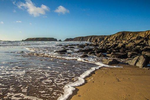 Ocean, Beach, Low Tide, Wales, England
