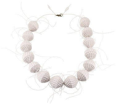Paper Beads, Necklace, White