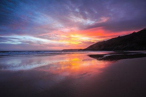 Sunset, Beach, Low Tide, Ocean, Wales